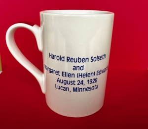 Back of mug, Grandma and Grandpa Solseth's wedding date